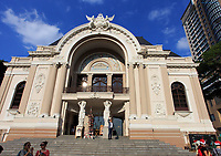 The entrance to the Municipal Theatre in Ho Chi Minh City, Vietnam