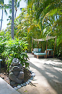 The Kahala Resort and Hotel, located in Honolulu on the souths side of Diamond Head, offers luxurious accommodations and is the only hotel in Oahu with a dolphin program. The relaxation area outside the Kahala spa.