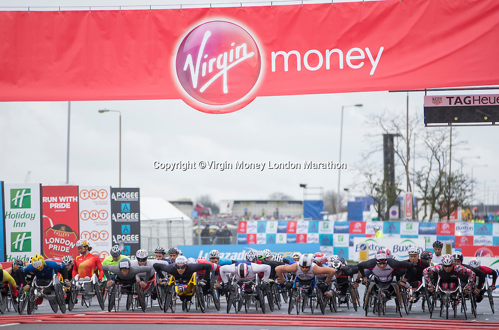 The start of the Wheelchair race. The Virgin Money London Marathon, Sunday 24th April 2016.<br /> <br /> Photo: Jed Leicester for Virgin Money London Marathon<br /> <br /> For more information please contact media@londonmarathonevents.co.uk