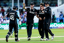 Colin de Grandhomme of New Zealand celebrates with teammates after taking the wicket of Joe Root of England - Mandatory by-line: Robbie Stephenson/JMP - 14/07/2019 - CRICKET - Lords - London, England - England v New Zealand - ICC Cricket World Cup 2019 - Final