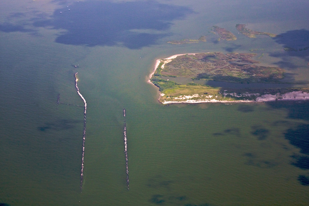 Empire Jetty, Plaquemines Parish, Louisiana, USA. This area was not protected by boom or sand berm.