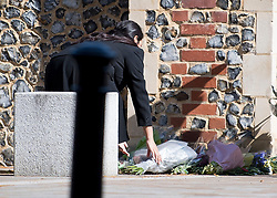 © Licensed to London News Pictures. 22/06/2020. Reading, UK. Home Secretary PRITI PATEL lays flowers during a visit to Forbury Gardens in Reading town centre where three people were stabbed to death in a terrorist attack. Several other people were injured in the attack which was carried out by Libyan asylum seeker Khairi Saadallah, who is currently in custody. . Photo credit: Ben Cawthra/LNP