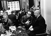Member of U2 with Brian Eno. Q Awards. Park Lane Hotel. 11 November 1996. © Copyright Photograph by Dafydd Jones 66 Stockwell Park Rd. London SW9 0DA Tel 020 7733 0108 www.dafjones.com