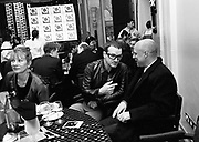Member of U2 with Brian Eno. Q Awards. Park Lane Hotel. 11 November 1996. © Copyright Photograph by Dafydd Jones 66 Stockwell Park Rd. London SW9 0DA Tel 020 7733 0108 www.dafjones.com