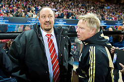 MADRID, SPAIN - Wednesday, October 22, 2008: Liverpool's manager Rafael Benitez and assistant manager Sammy Lee before the UEFA Champions League Group D match against Club Atletico de Madrid at the Vicente Calderon. (Photo by David Rawcliffe/Propaganda)