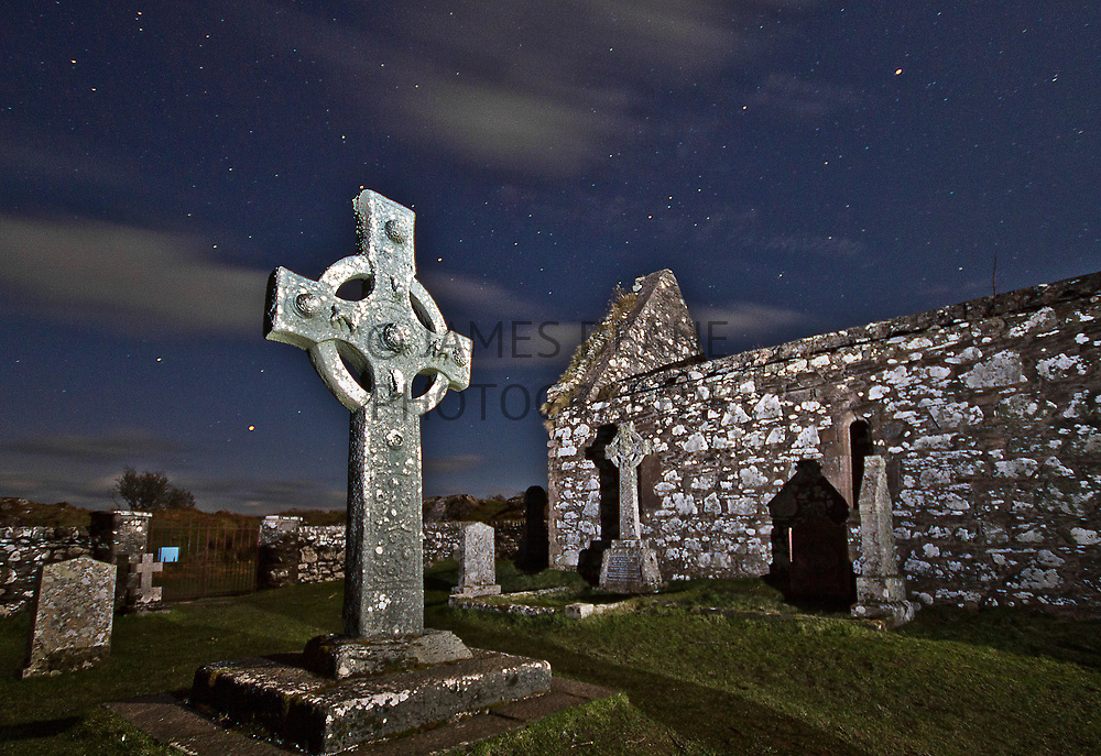 A long exposure with torchlight of the Kildalton Cross on the Isle of Islay