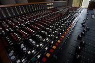 sound mixing board in recording studio