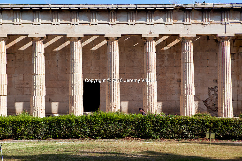 The Temple of Hephaestus, located at the north-west side of the Agora of Athens, is the best preserved ancient temple in Greece, largerly due to its varied used throughout history. Built around 450 BC, it is dedicated to Hephaestus, the god of the forge and Athena, goddess of pottery and crafts, and is a classic example of Doric architecture.