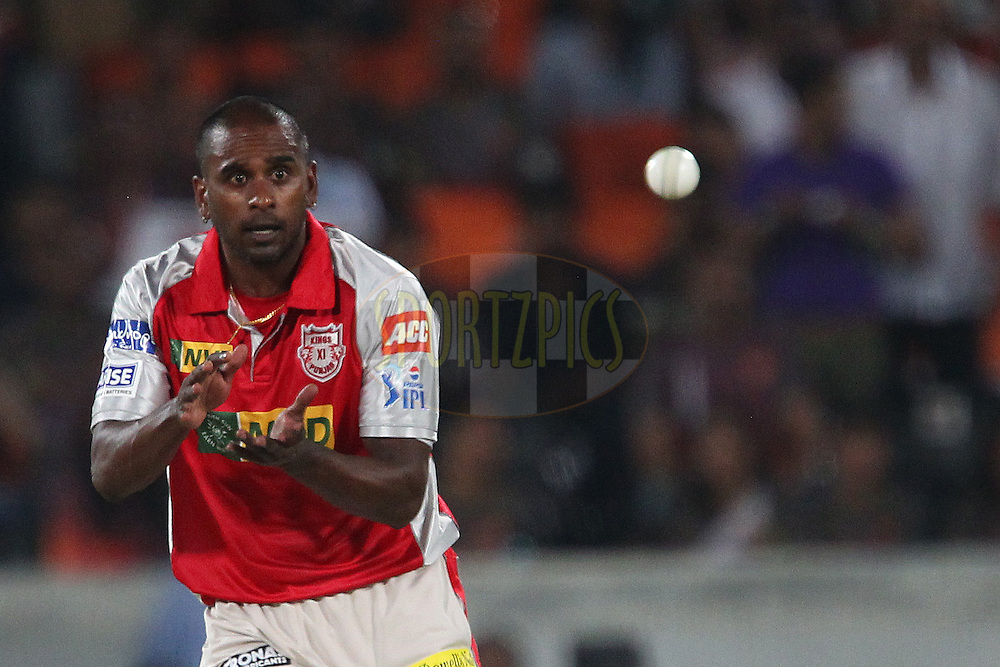 Dimitri Mascarenhas during match 25 of the Pepsi Indian Premier League between The Sunrisers Hyderabad and The Kings XI Punjab held at the Rajiv Gandhi International  Stadium, Hyderabad  on the 19th April 2013..Photo by Ron Gaunt-IPL-SPORTZPICS..Use of this image is subject to the terms and conditions as outlined by the BCCI. These terms can be found by following this link:..http://www.sportzpics.co.za/image/I0000SoRagM2cIEc