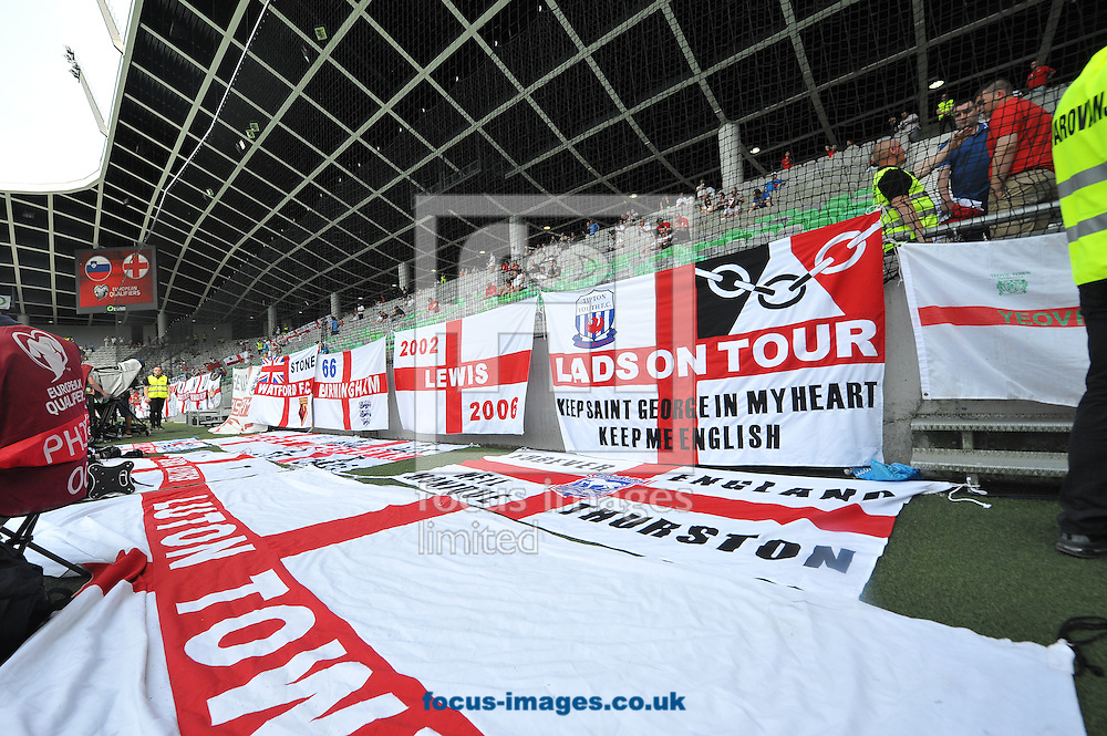 Fans flags of England prior to the UEFA Euro 2016 Qualifying match at Stozice Stadium, Ljubljana<br /> Picture by Stefano Gnech/Focus Images Ltd +39 333 1641678<br /> 14/06/2015