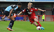 Christian Scales going forward during the Sky Bet League 2 match between Crawley Town and Wycombe Wanderers at the Checkatrade.com Stadium, Crawley, England on 29 August 2015. Photo by Michael Hulf.