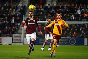 Hearts FC Defender Igor Rossi controls the high ball during the Ladbrokes Scottish Premiership match between Heart of Midlothian and Motherwell at Tynecastle Stadium, Gorgie, Scotland on 16 January 2016. Photo by Craig McAllister.