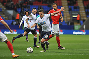 Bolton Wanderers striker, Zach Clough (10) takes the shot on goal during the Sky Bet Championship match between Bolton Wanderers and Charlton Athletic at the Macron Stadium, Bolton, England on 19 April 2016. Photo by John Marfleet.