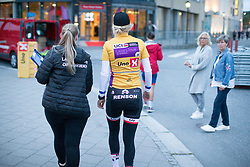 Ellen van Dijk (NED) of Team Sunweb walks to the doping control after winning the prologue of the Ladies Tour of Norway - a 3.4 km time trial, starting and finishing in Halden on August 17, 2017, in Ostfold, Norway. (Photo by Balint Hamvas/Velofocus.com)