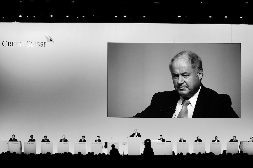 Chairman Han-Ulrich Doerig at the annual shareholder's meeting of Credit Suisse. He retired in 2011.