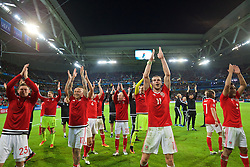 LILLE, FRANCE - Friday, July 1, 2016: Wales' Gareth Bale leads his squad in celebration after a 3-1 victory over Belgium and reaching the Semi-Final during the UEFA Euro 2016 Championship Quarter-Final match at the Stade Pierre Mauroy. Simon Church, David Cotterill, Jonathan Williams. (Pic by David Rawcliffe/Propaganda)