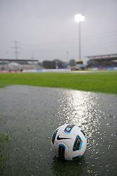 ALTACH, AUSTRIA - Saturday, July 17, 2010: A ball floats in a puddle on the pitch before Liverpool first preseason match of the 2010/2011 season at the Cashpoint Arena. (Pic by David Rawcliffe/Propaganda)