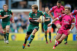 Matthew Tait of Leicester Tigers in possession - Photo mandatory by-line: Patrick Khachfe/JMP - Mobile: 07966 386802 25/04/2015 - SPORT - RUGBY UNION - Leicester - Welford Road - Leicester Tigers v London Welsh - Aviva Premiership