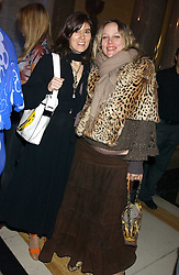 Left to right, BELLA FREUD and BAY GARNETT at the 2005 Lancome Colour Design Awards in association with CLIC Sargent Cancer Care for Children held at the Freemasons' Hall, Great Queen Street, London on 23rd November 2005.<br />
