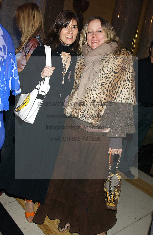 Left to right, BELLA FREUD and BAY GARNETT at the 2005 Lancome Colour Design Awards in association with CLIC Sargent Cancer Care for Children held at the Freemasons' Hall, Great Queen Street, London on 23rd November 2005.<br />NON EXCLUSIVE - WORLD RIGHTS