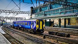 ScotRail passenger train departing from Central Station in Glasgow, Scotland<br /> <br /> (c) Andrew Wilson | Edinburgh Elite media