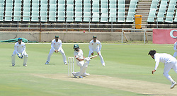 Johannesburg 19-12-18. South Africa Invitation XI vs Pakistan. Pakistan open their tour of South Africa with a three-day match at Sahara Willowmoore Park, Benoni. Day 1, afternoon session. South African batsman Tshepang Dithole ducks a ball from Faheem Ashraf Picture: Karen Sandison/African News Agency(ANA)