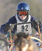 Patti Lewison of Phelps Wisconsin heads into the first turn during Saturdays racing action at the 2010 Kalkaska Winterfest.
