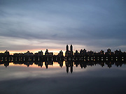 ' Sunset over Central Park Resevoir '  in New York City, NY