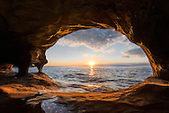 A summer sunset from a Lake Superior Cave<br />