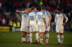 March 24, 2019 - Cardiff, United Kingdom - The Slovakian team during the UEFA European Championship Group E Qualifying match between Wales and Slovakia at the Cardiff City Stadium, Cardiff on Sunday 24th March 2019. (Credit Image: © Mi News/NurPhoto via ZUMA Press)