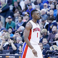 25 January 2016: Detroit Pistons guard Reggie Jackson (1) is seen during the Detroit Pistons 95-92 victory over the Utah Jazz, at the Vivint Smart Home Arena, Salt Lake City, Utah, USA.