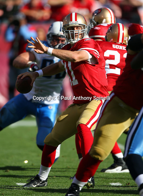 San Francisco 49ers quarterback Alex Smith (11) throws a pass during the NFL football game against the Tennessee Titans, November 8, 2009 in San Francisco, California. The Titans won the game 34-27. (©Paul Anthony Spinelli)