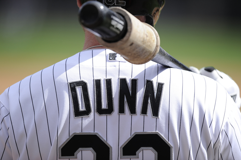 CHICAGO - APRIL 20:  Adam Dunn #32 of the Chicago White Sox looks on against the Minnesota Twins on April 20, 2013 at U.S. Cellular Field in Chicago, Illinois.  The Twins defeated the White Sox 2-1 .  (Photo by Ron Vesely)   Subject:  Adam Dunn