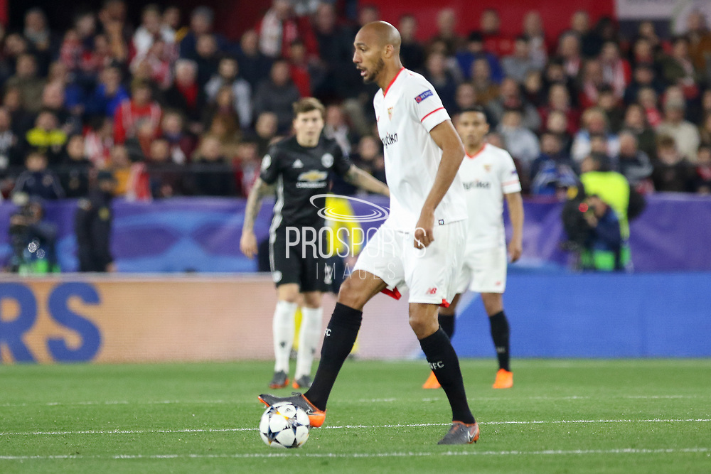Sevilla midfielder Steven N'Zonzi (15) during the Champions League match between Sevilla and Manchester United at the Ramon Sanchez Pizjuan Stadium, Seville, Spain on 21 February 2018. Picture by Phil Duncan.