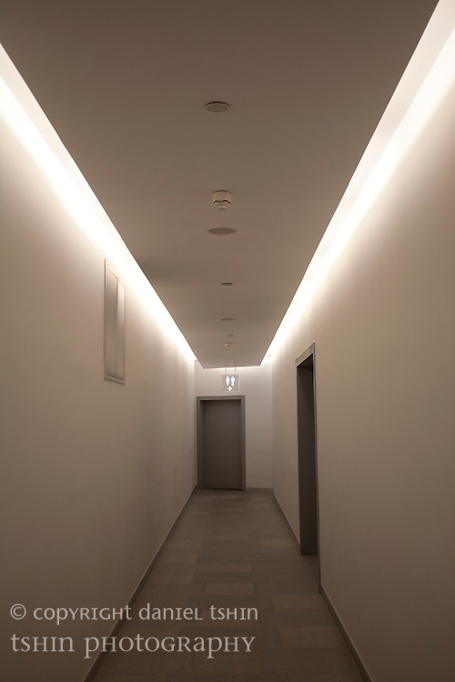 A corridor to washrooms in the Kanyon Shopping Center complex in Levent District, Istanbul, Turkey. Kanyon is a mixed-use complex consisting of residences, offices, retail stores, entertainment facilities and public spaces.