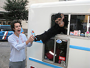 The Ice Cream man gets served by an ape at the South by Southwest Interactive Festival 2008 in Austin Texas, March 10, 2008.