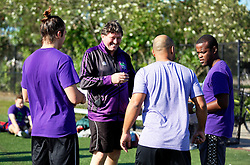 06 May 2016. New Orleans, Louisiana.<br /> New Orleans Jesters. head coach Kenneth Farrell at the early morning training session for the NPSL team as they prepare for the opening game of the season at Pan American Stadium.<br /> Photo; Charlie Varley/varleypix.com