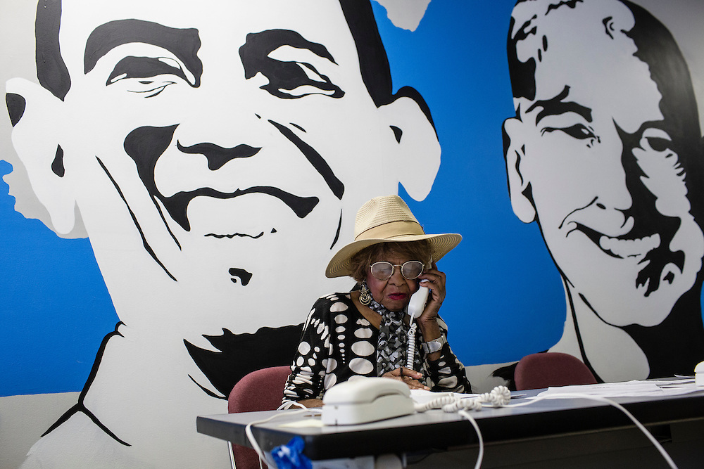 Audrey Britt, a volunteer with Organizing for America, President Obama's re-election campaign arm, makes phone calls to potential supporters in the group's Richmond headquarters on Thursday, May 3, 2012 in Richmond, VA.