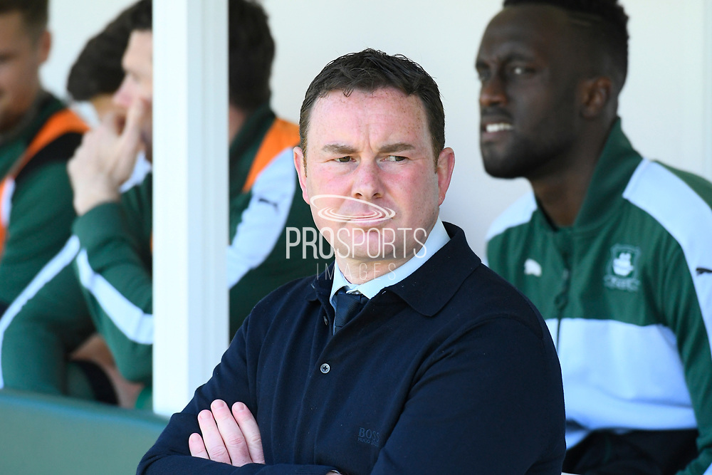 Plymouth Argyle manager Derek Adams during the EFL Sky Bet League 2 match between Plymouth Argyle and Crewe Alexandra at Home Park, Plymouth, England on 29 April 2017. Photo by Graham Hunt.