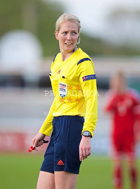 BANGOR, WALES - Thursday, May 8, 2014: Referee Lina Lehtovaara during the FIFA Women's World Cup Canada 2015 Qualifying Group 6 match between Wales and Montenegro at the Nantporth Stadium. (Pic by David Rawcliffe/Propaganda)