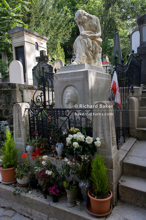 The celebrated tomb of Polish-born composerFrédéric François Chopin in the Pere Lachaise cemetery, Paris. Chopin was a Polish composer and virtuoso pianist of French-Polish parentage. He is considered one of the great masters of Romantic music. Chopin was born in ?elazowa Wola, a village in the Duchy of Warsaw. A renowned child-prodigy pianist and composer, Chopin grew up in Warsaw and completed his music education there; he composed many mature works in Warsaw before leaving Poland in 1830 at age 20.