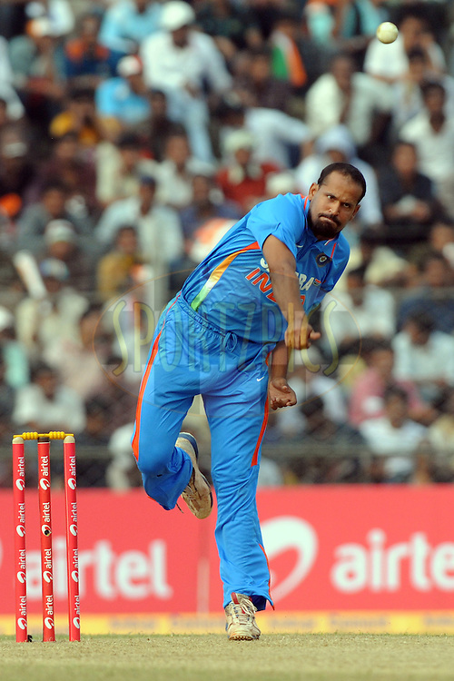 Yusuf Pathan bowls during the 1st ODI (One Day International) held at the Nehru Stadium in Guwahati, Assam, India on the 28 th November 2010.Photo by Pal Pillai/BCCI/SPORTZPICS