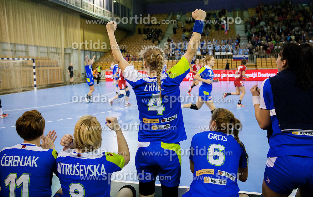 Maja Zrnec of Slovenia reacts during handball match between Women National teams of Slovenia and Serbia in 2nd Round of Qualifications for 2014 EHF European Championship on October 27, 2013 in Hala Tivoli, Ljubljana, Slovenia. Slovenia defeated Serbia 31-26. (Photo by Vid Ponikvar / Sportida)