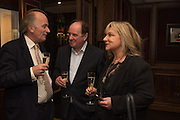 DAVID CAMPBELL; JIM NAUGHTIE; HELEN LEDERER, David Campbell Publisher of Everyman's Library and Champagen Bollinger celebrate the completion of the Everyman Wodehouse in 99 volumes and the 2015 Bollinger Everyman Wodehouse prize shortlist. The Archive Room, The Goring Hotel. London. 20 April 2015.