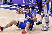 DESCRIZIONE : Beko Legabasket Serie A 2015- 2016 Dinamo Banco di Sardegna Sassari - Enel Brindisi<br /> GIOCATORE : Andrea Zerini<br /> CATEGORIA : Ritratto Esultanza A Terra<br /> SQUADRA : Enel Brindisi<br /> EVENTO : Beko Legabasket Serie A 2015-2016<br /> GARA : Dinamo Banco di Sardegna Sassari - Enel Brindisi<br /> DATA : 18/10/2015<br /> SPORT : Pallacanestro <br /> AUTORE : Agenzia Ciamillo-Castoria/L.Canu