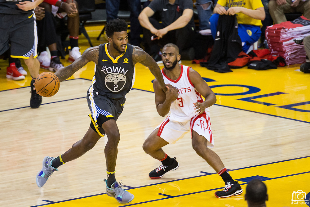 Golden State Warriors center Jordan Bell (2) takes the ball to the basket against Houston Rockets guard Chris Paul (3) during Game 4 of the Western Conference Finals at Oracle Arena in Oakland, Calif., on May 22, 2018. (Stan Olszewski/Special to S.F. Examiner)