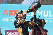25,  Jean Eric VERGNE, (FRA)  Techeetah Formula E Team, Renault Z.E. 16 - celebration on the podium, final race of the season victory and Champion Formula E 2018 - with champaign buttle -  <br /> USA e-Prix, FIA Formula E, Formula E Grand Prix at the red hook Brooklyn New York harbor area on 15 July, 2018. Formel E in New York, Brooklyn, Red Hook port area. <br /> fee liable image, copyright@ ATP Arthur THILL