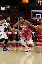 05 February 2016: Colleene Smith(1) moves past the three point line and Joyea Marshall. Illinois State University Women's Redbird Basketball team hosted the Sycamores of Indiana State for a Play4 Kay game at Redbird Arena in Normal Illinois.
