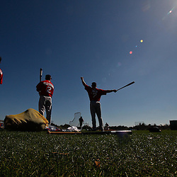 February 19, 2011; Fort Myers, FL, USA; Boston Red Sox players second baseman Dustin Pedroia (15), left fielder Jacoby Ellsbury (2) and right fielder J.D. Drew (7) wait to take batting practice during spring training at the Player Development Complex.  Mandatory Credit: Derick E. Hingle