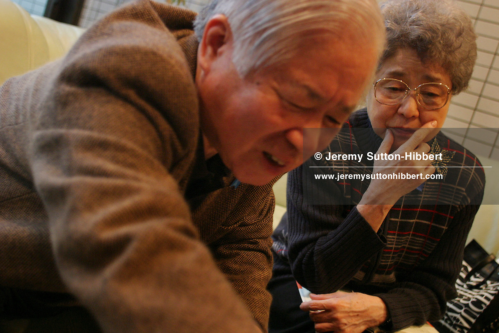 Shigeru Yokota, on left, and wife Sakie, mother of Japanese citizen Megumi Yokota, abducted in 1977 at the age of 13, from Japan, by North Korea spies.